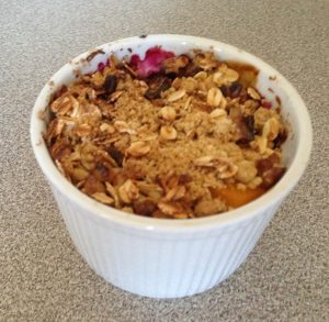 mini fruit crumble in a ramekin
