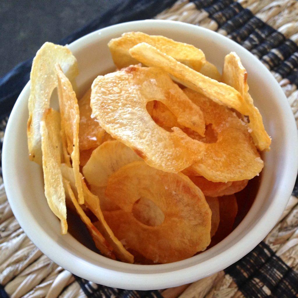 Home made potato chips in a ramekin