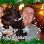 Christmas photo of Wendy and Jayson with Missie