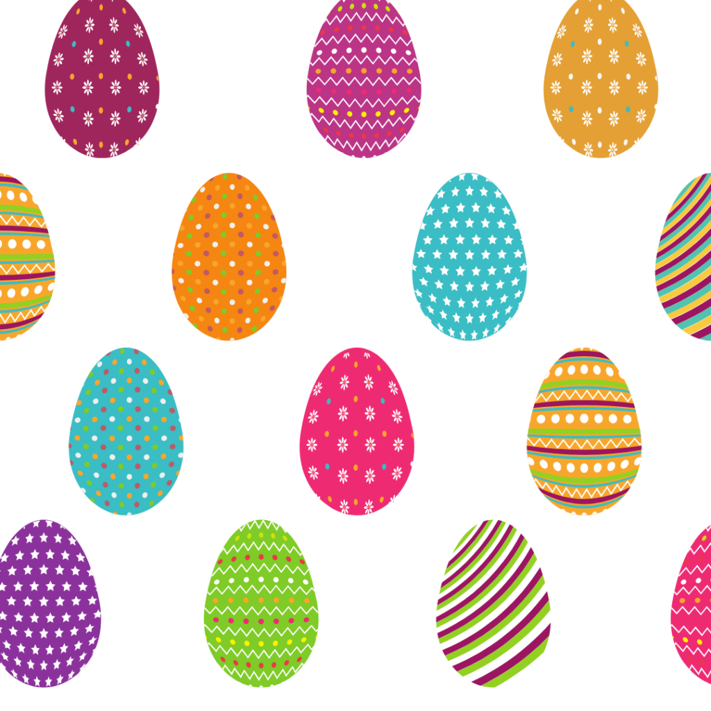 An illustration of brightly coloured Easter eggs