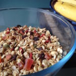 toasted muesli in a large glass bowl 1