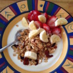 basic brekkie bowl with yoghurt, muesli, banana and strawberries 3