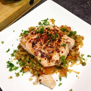 salmon cauli rice