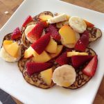 pancakes with strawberries, peaches and banana 2