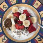 simple brekkie bowl with yoghurt, fruit and seeds