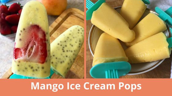 Mango ice cream pops – two ways