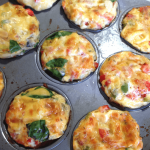 Close up of breakfast egg muffins in a muffin tin