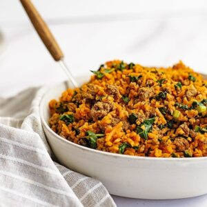 Easy-Ground-Beef-Sweet-Potato-Rice-Breakfast-Skillet-Recipe