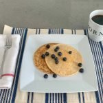3 ingredient protein pancakes topped with berries
